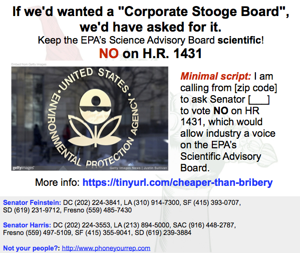 "Corruption Alert – Keep the EPA's ""Science Advisory Board"" Scientific. NO on HR1431"