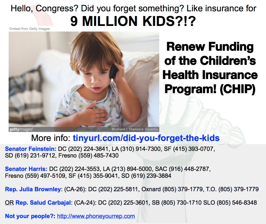 Hello, Congress? Did you forget something? Like health insurance for 9 MILLIONKIDS?!?