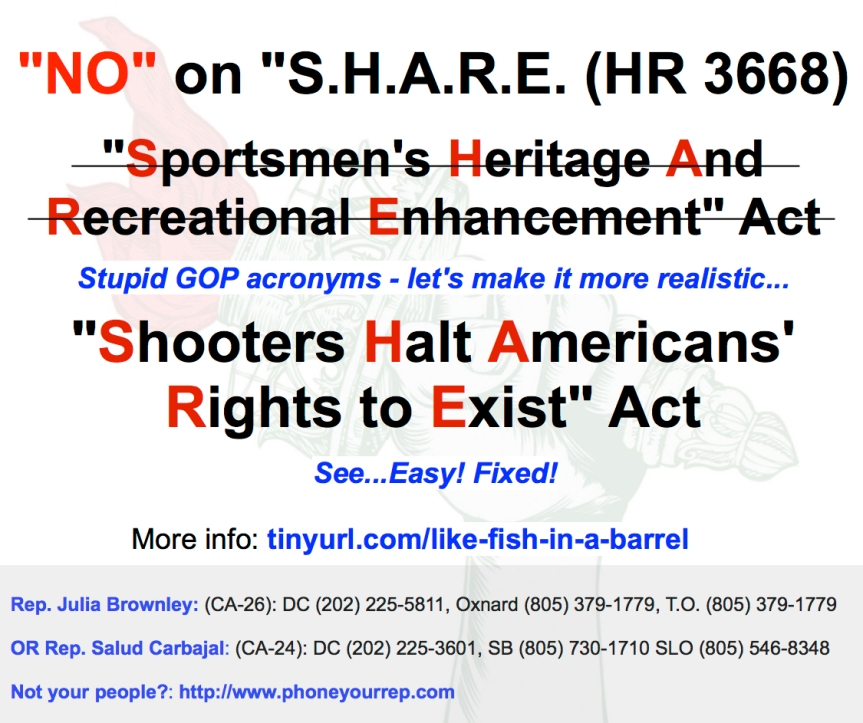 "S.H.A.R.E. is not what they taught you to do in school. ""NO"" on HR. 3668!"