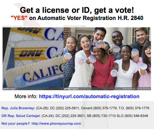 Make voting easier – automatically register voters from state DMV rolls. Yes on H.R.2840!