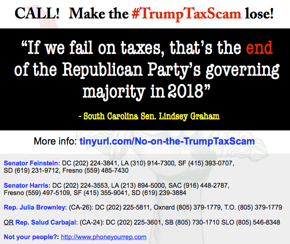 NO on #TrumpTaxScam! Keep up the calls! Nobody likes it! Sink it!