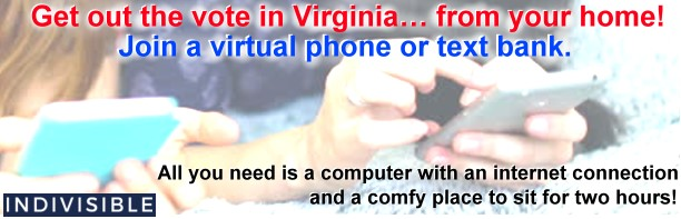 Get out the vote in Virginia… from your home! Join a virtual phone or text bank.