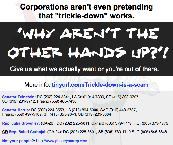 Corporations can't even be bothered to maintain the charade with a hand in the air.