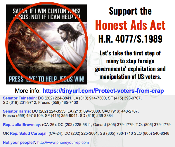 Support the Honest Ads Act. It's a first step and the very least social media giants can do.