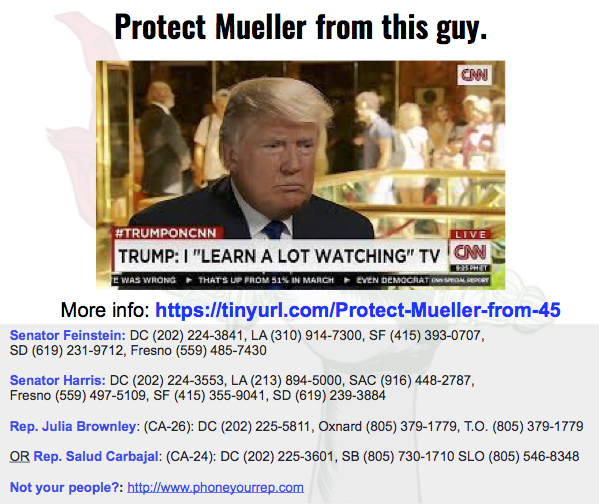 Protect Mueller from a Trump tantrum. YES on H.R. 3771 & S. 1735.