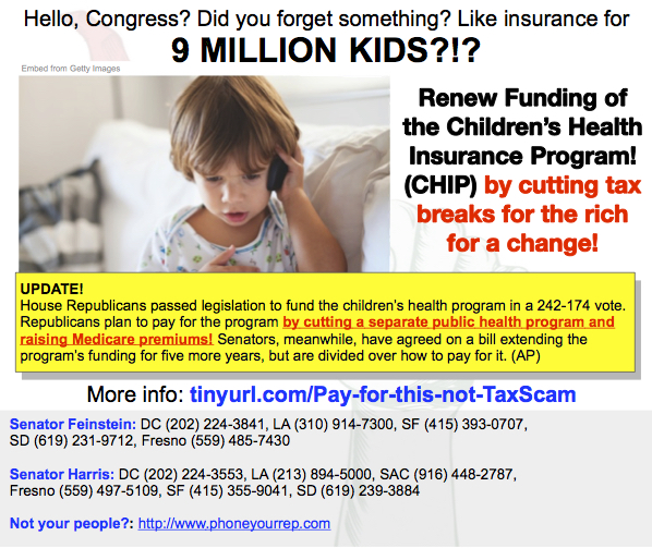 Surprise! The GOP would like the poor &  elderly to pay for poor children's healthcare.