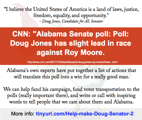 Helping Doug Jones win – update from the front…