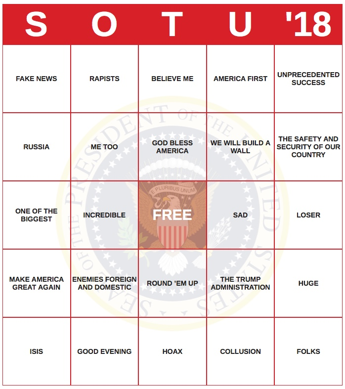 "Tuesday…Instead of playing ""State of the Union"" Speech Bingo this evening…."
