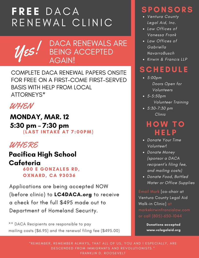 Tues. 2/20 – DACA & immigration – fast actions and information update