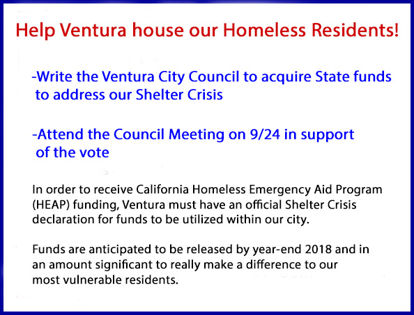 Help Ventura house our Homeless Residents! Write City Council to acquire State funds to address our Shelter Crisis & attend the Council Meeting on 9/24