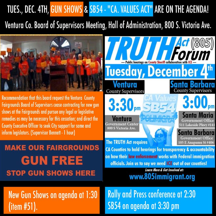 Tues – Dec. 4: Update on the Ventura County Board of Supervisors meeting. It's going to be a busyday…