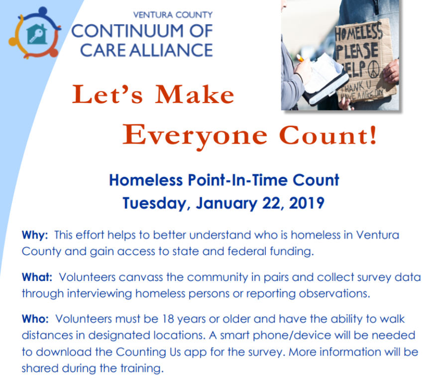 Help our Homeless Residents receive shelter, housing, rental, and outreach funding! Volunteer for the Point-in-Time Count.