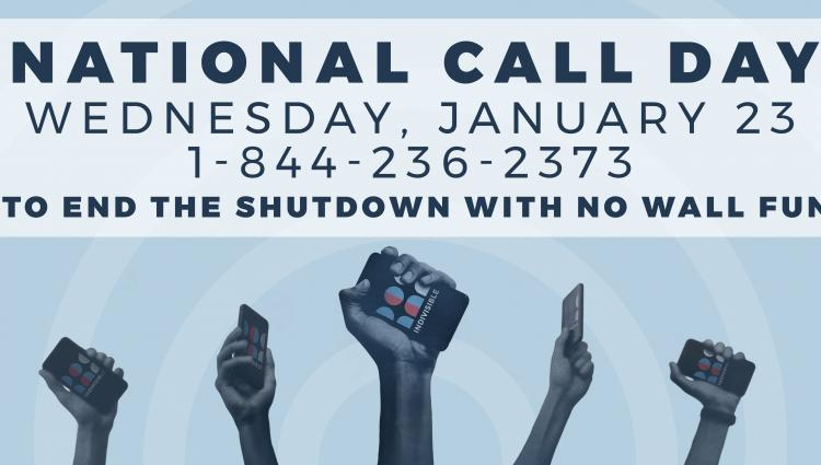 Wed – 1/23: End the #TrumpShutdown – no extortion money for a wall.