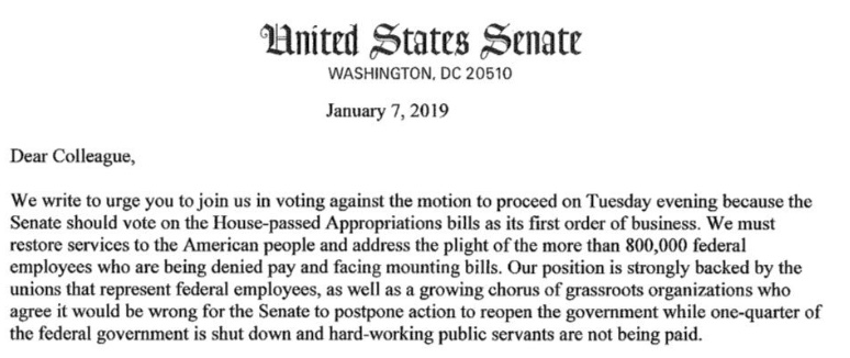 Tues 1/8 – Priorities, people! Oppose all legislation in the Senate until the government isre-opened.