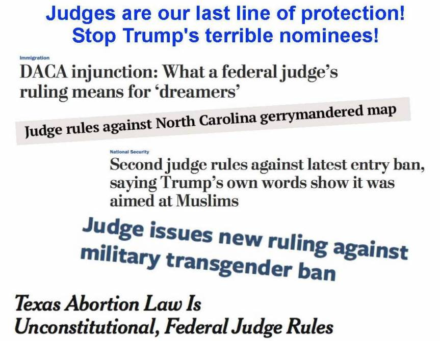Thur – 2/7: Trump is tired of being stopped by judges. So he's destroying our courts, one nominee at a time.CALL!