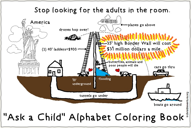 Sat 2/9: Resistance Coloring Book – Stupid Border Wall Edition