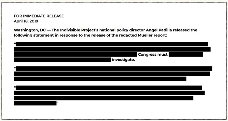 "Fri. –  4/19: RE: Mueller Report – The administration is ""taking the temperature"" before putting out a ""counter report""…"