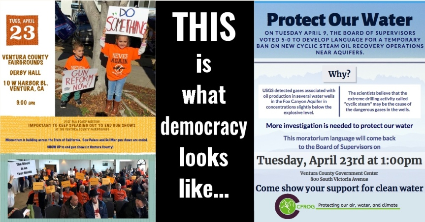4/23: It's today! Tuesday's agenda includes gun shows & oil drilling!