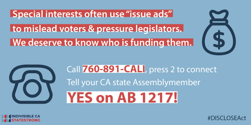 Fri – 5/24: AB 1217 – Issue Ad DISCLOSE Act