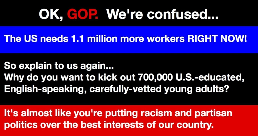 Thurs 11/14: GOP, OBEY YOUR MASTERS! Stop playing chicken with our economy by putting Dreamers atrisk.