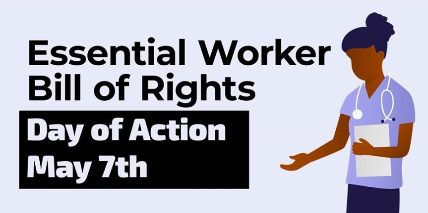 Thurs 5/7: Join in – Day of Action to support the Essential Workers Bill of Rights!
