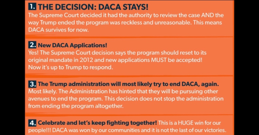 Thurs 6/18: Rally today to Celebrate the SCOTUS decision for DACA! (3) actions, including one for ALL DACA recipients. NEW DACA applications now OK!