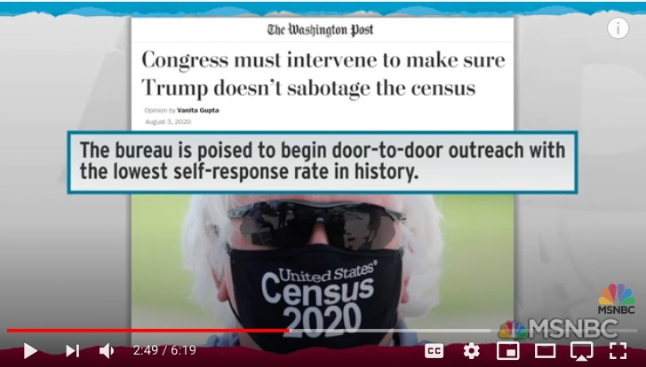 """Wed 8/5: Census: """"It's going to be impossible to complete the count in time. I'm very fearful we're going to have a massive undercount."""""""