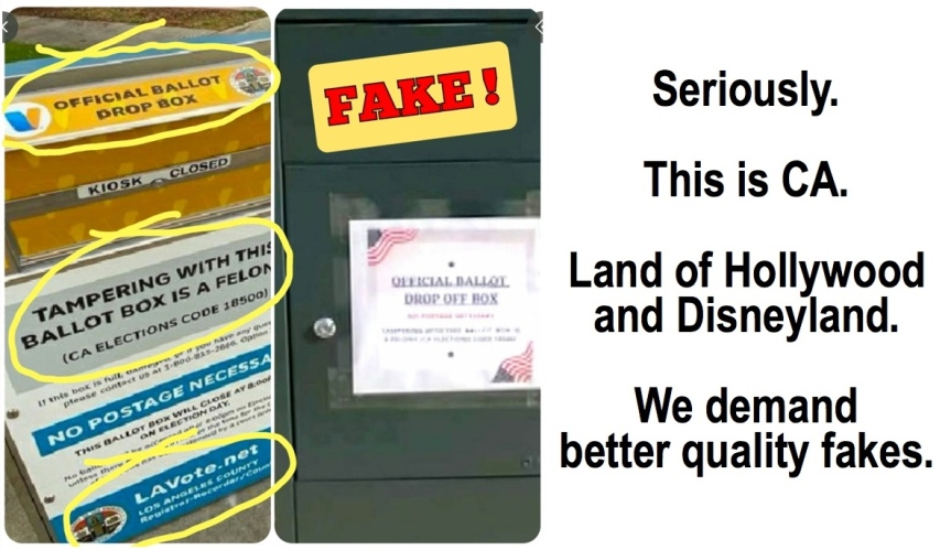 Monday 10/12: Keep on the lookout – for fake ballot dropboxes!