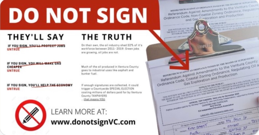 Wed. 12/2: We're being targeted again by big business, this time in Ventura County! Don't sign the oil industry's petition topollute.