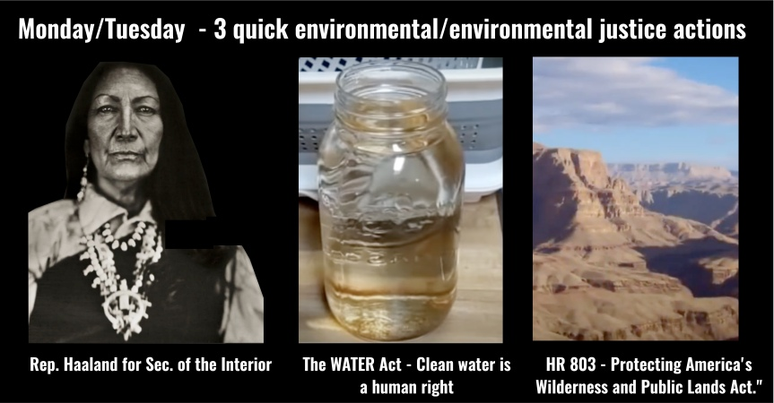 Mon-Tues: Three quick environmental/ environmental justice actions!