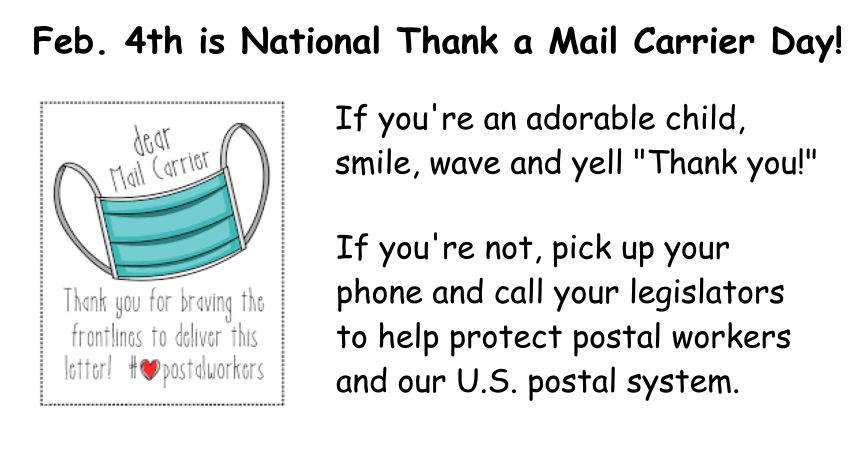 It's National Thank a Mail Carrier Day! Tell Congress to strengthen the U.S. Postal Service