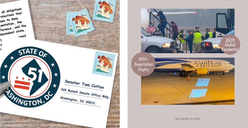 Wed 3/3: Wanted: Postcard writers! D.C. statehood and stopping deportationflights.