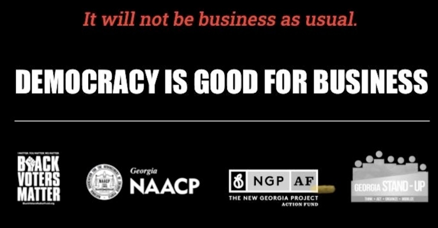 "Monday 3/8: ""This is a democracy issue!"" Call out corporations who fund voter suppression."