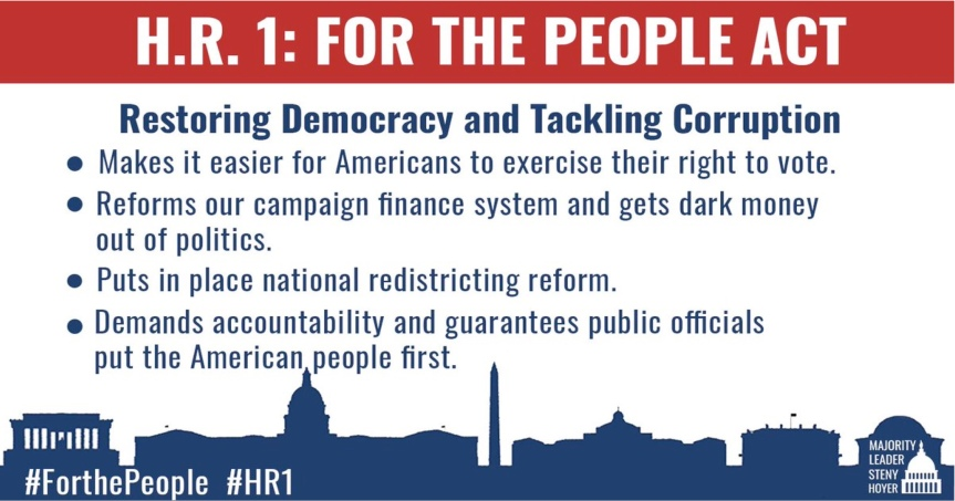 """Wed. 3/10:  The """"H.R. 1/S.1 – For the People Act""""  is now in the Senate! Call your senators and join in the outreachcampaigns!"""